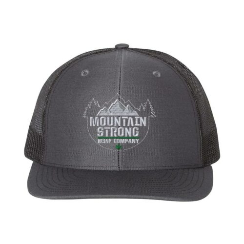 Mountain Strong Hemp Charcoal & Black Hat - Grey & Green Logo