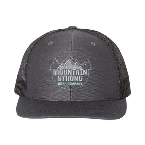 Mountain Strong Hemp Charcoal & Black Hat - Grey & Green Logo