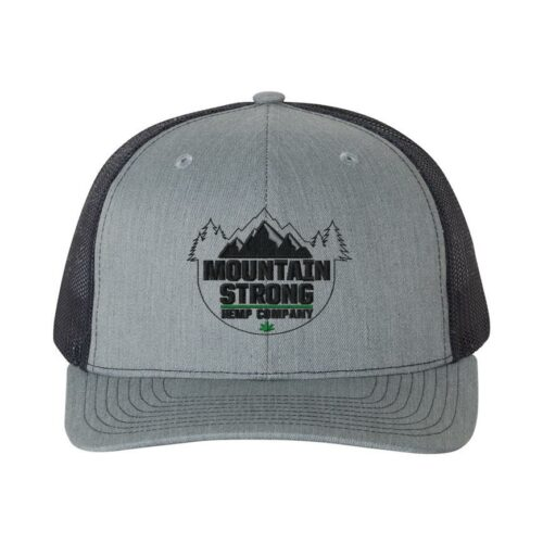 Mountain Strong Hemp Heather Grey & Navy Hat - Black & Green Logo