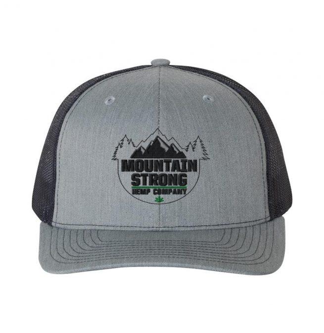 Mountain Strong Hemp Heather Grey & Navy Hat - Black & Green Logo