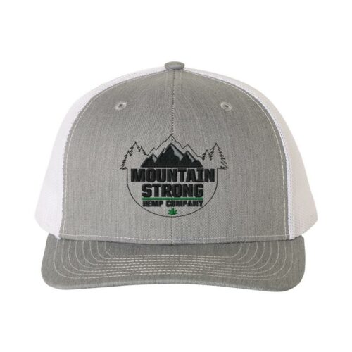 Mountain Strong Hemp Heather Grey & White Hat - Black & Green Logo