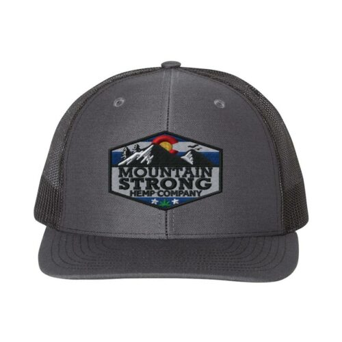 Mountain Strong Hemp Charcoal & Black Hat - Full Color Logo
