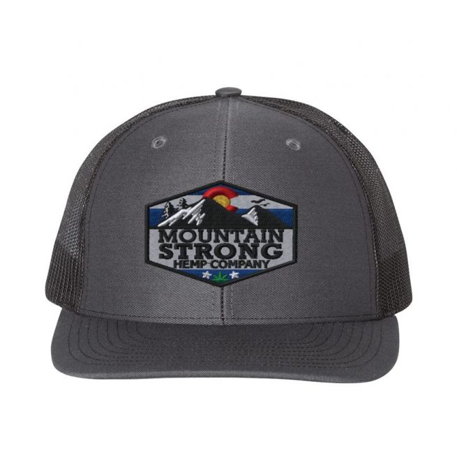 Mountain Strong Hemp Charcoal & Black Hat - Full Color Logo