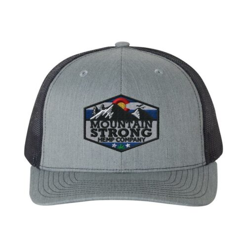 Mountain Strong Hemp Heather Grey & Navy Hat - Full Color Logo