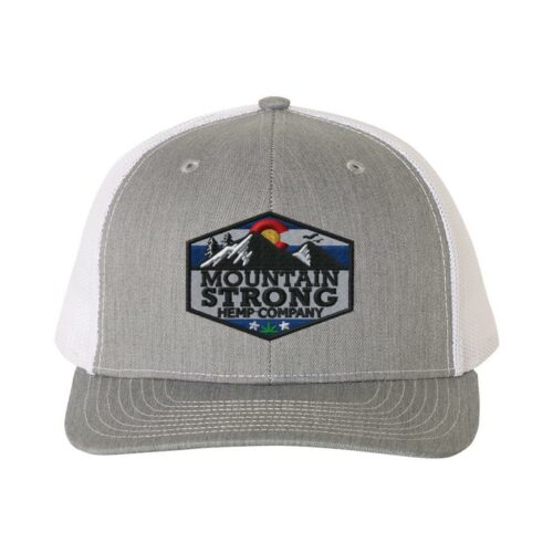 Mountain Strong Hemp Heather Grey & White Hat - Full Color Logo