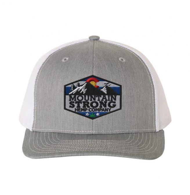 Mountain Strong Hemp Heather Grey & White Hat - Full Color Logo