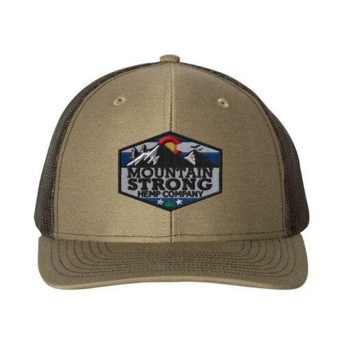 Mountain Strong Hemp Loden & Black Hat - Full Color Logo