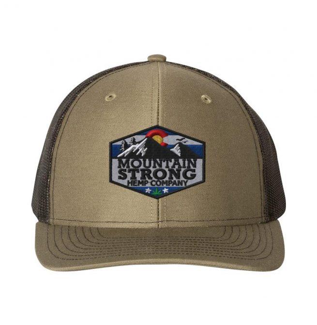Mountain Strong Hemp Loden & Black Hat - Full Color Logo
